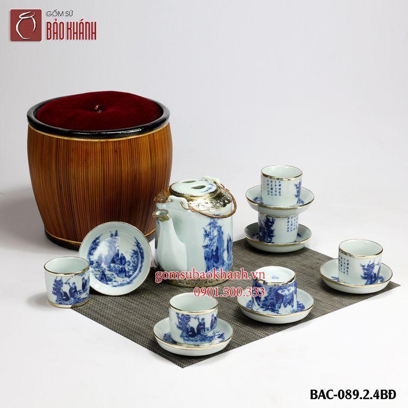 bộ ấm chén pha trà men lam vẽ trúc