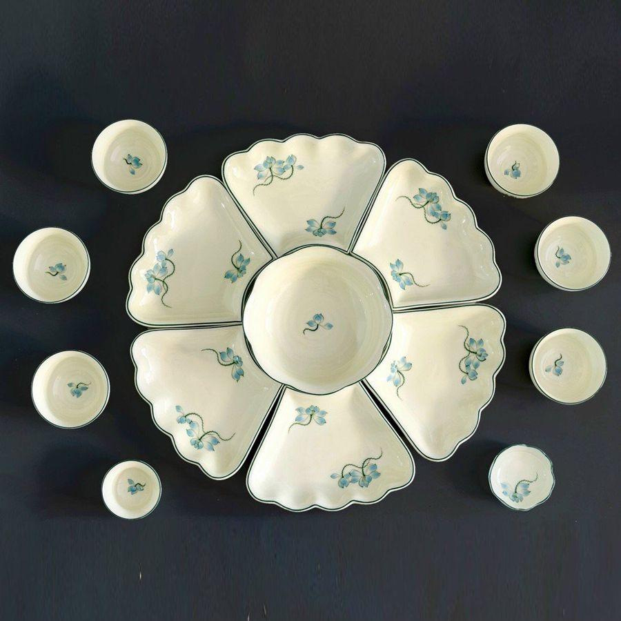 bộ bát đĩa ăn cơm hoa mặt trời vẽ sen