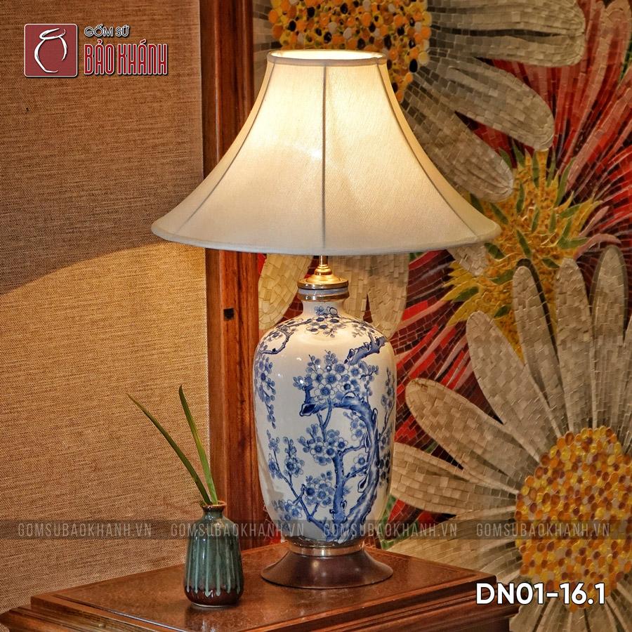 đèn ngủ để bàn gốm sứ cao cấp đào hoa phú quý