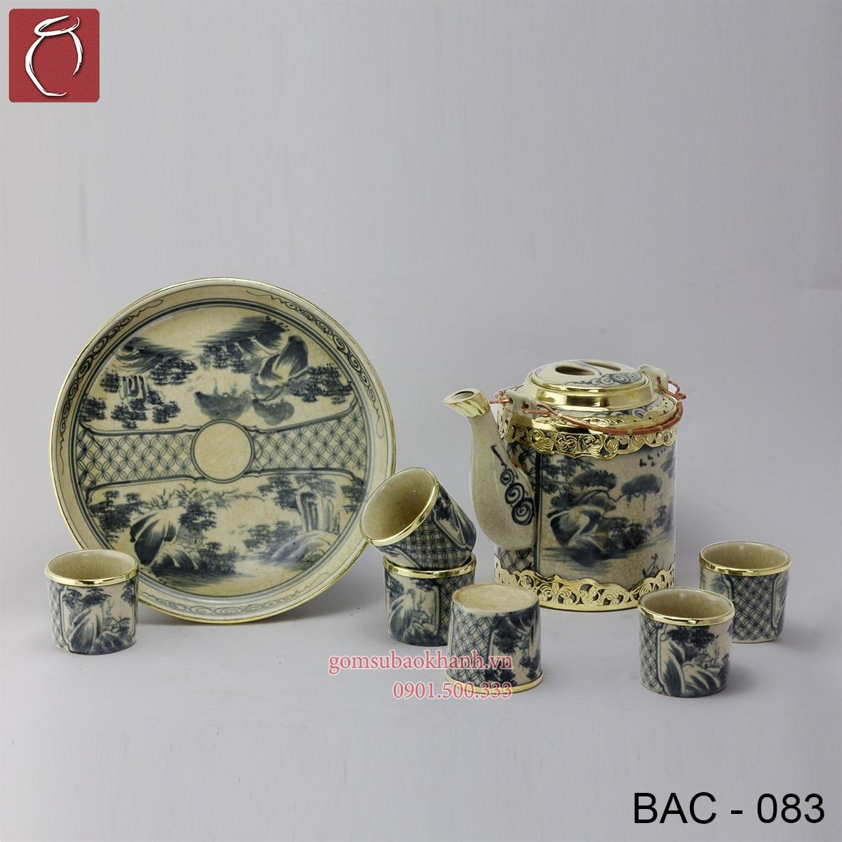 Bộ ấm chén uống trà tích men rạn bọc đồng vẽ phong cảnh