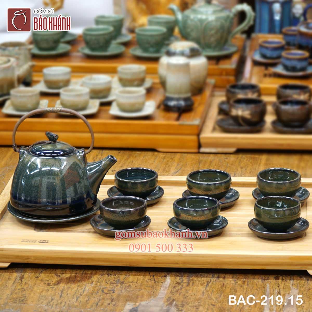 Bộ ấm chén uống trà hỏa biến men xanh đen
