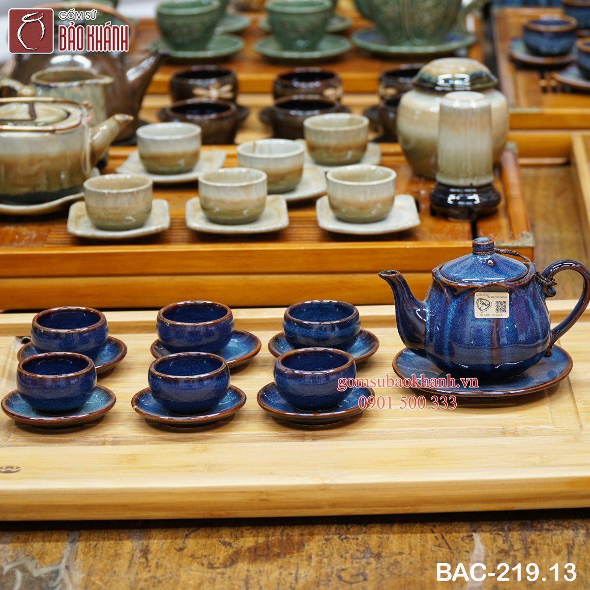 Bộ ấm chén uống trà hỏa biến búp sen